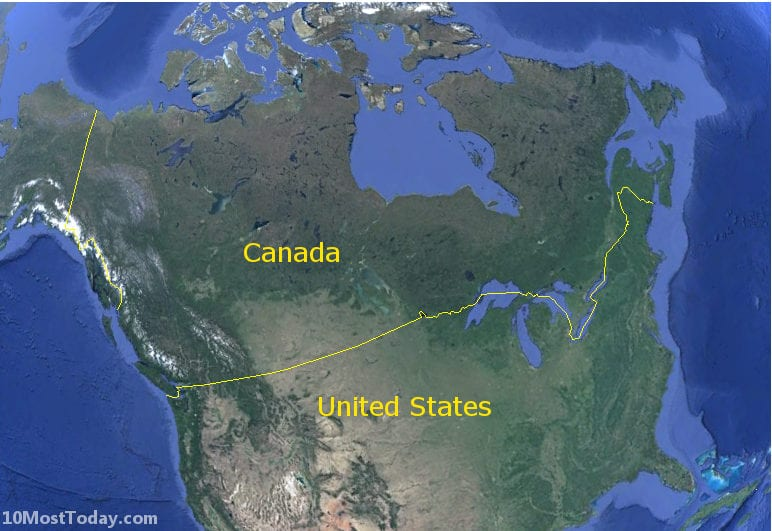 Longest Land Borders In The World: Canada - United States