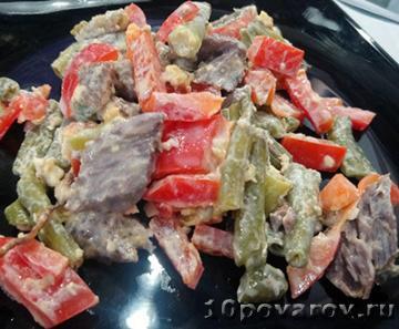 Салат со стручковой фасолью и говядиной - пошаговый рецепт ...