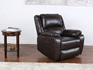 Divano Roma Furniture Plush Bonded Leather Power Electric Recliner review