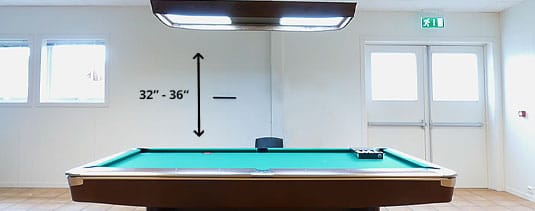 lights from the pool table