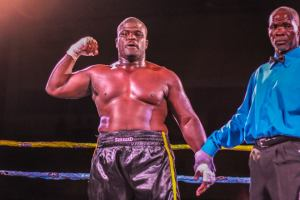 Bernard Rolle celebrates his knockout win