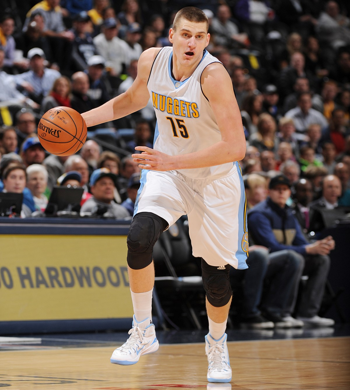 DENVER, CO - JANUARY 21: Nikola Jokic #15 of the Denver Nuggets handles the ball against the Memphis Grizzlies on January 21, 2016 at the Pepsi Center in Denver, Colorado. NOTE TO USER: User expressly acknowledges and agrees that, by downloading and/or using this Photograph, user is consenting to the terms and conditions of the Getty Images License Agreement. Mandatory Copyright Notice: Copyright 2016 NBAE (Photo by Garrett Ellwood/NBAE via Getty Images)