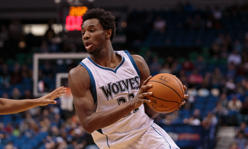 Oct 23, 2015; Minneapolis, MN, USA; Minnesota Timberwolves forward Andrew Wiggins (22) dribbles in the fourth quarter against the Milwaukee Bucks at Target Center. The Minnesota Timberwolves beat the Milwaukee Bucks 112-108. Mandatory Credit: Brad Rempel-USA TODAY Sports