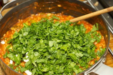 Spinazie risotto met asperges gewikkeld in Seranoham 42