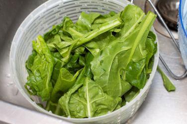 Snijbieten-stamppot met groente-jus en worstje 26