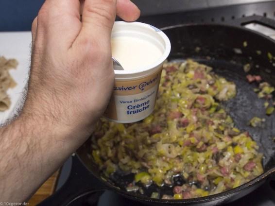 Romige pasta met prei, champignons en spekjes (37 van 40)
