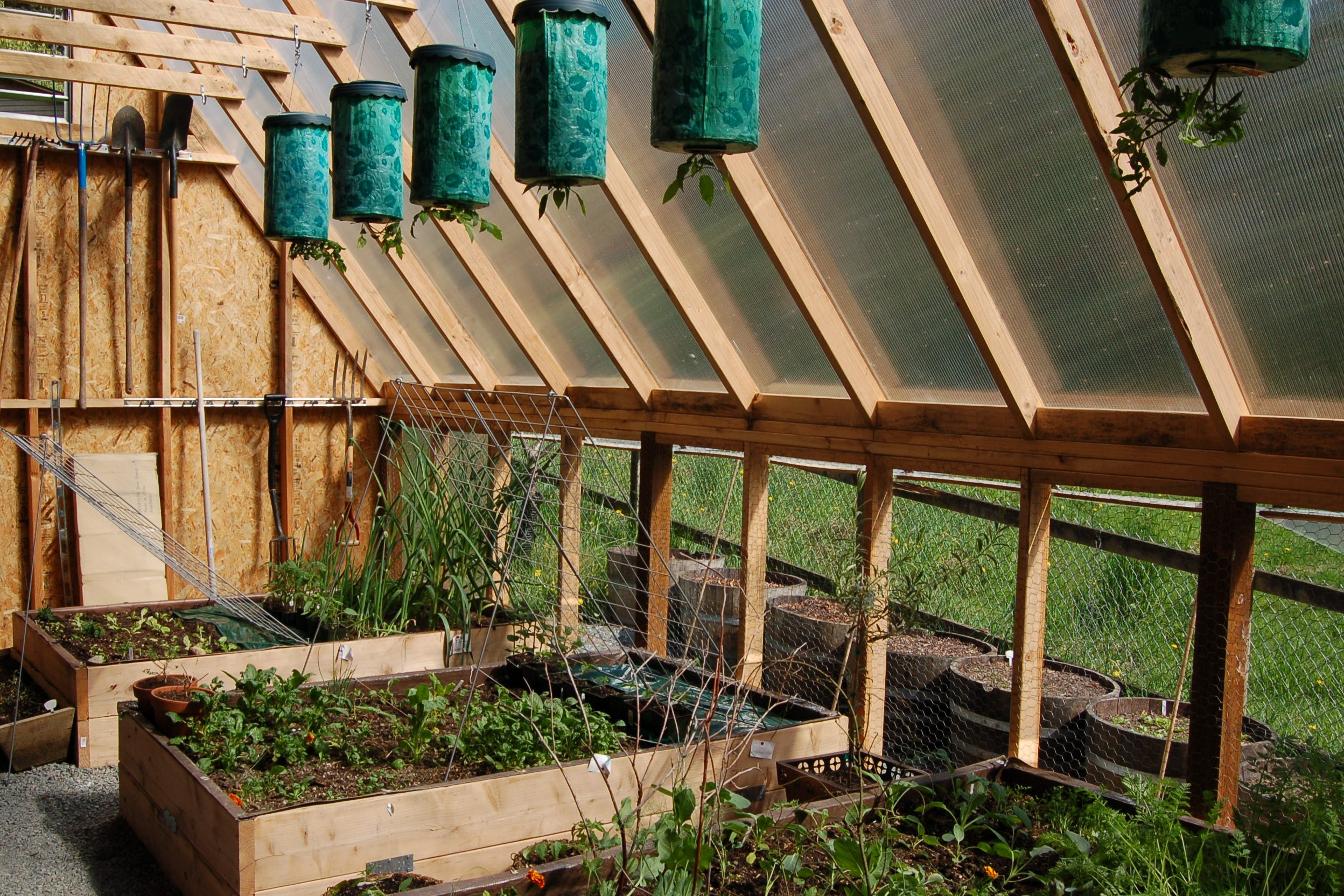 Hanging planters and raised beds