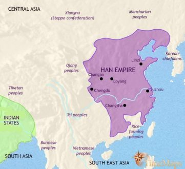 History map of Ancient China of the Qin and Han dynasties Map of China at 200BCE