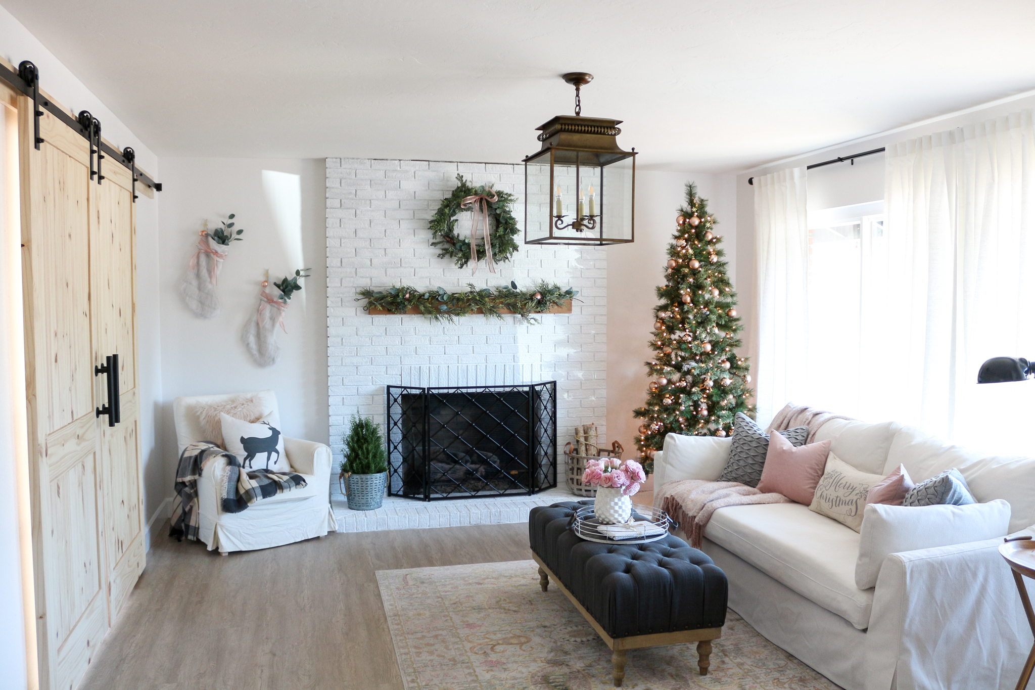 modern farmhouse style living room holiday tour on colors for farmhouse living room id=95754