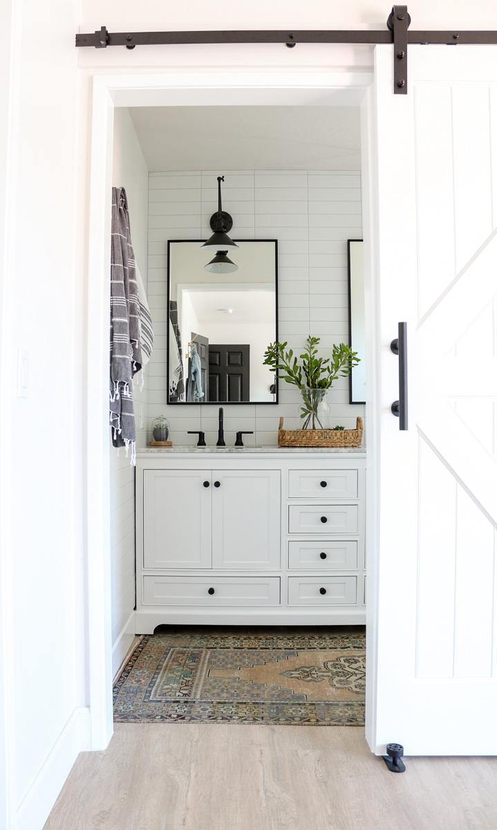 Modern Farmhouse Master Bathroom Renovation with Delta ... on Modern Farmhouse Shower  id=97866