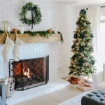 Modern Farmhouse Christmas Living Room With Navy Copper Rose Gold 1111 Light Lane