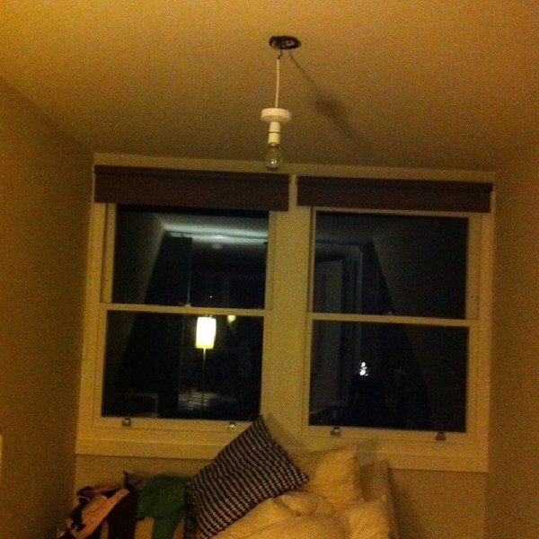 Living room with old light fitting