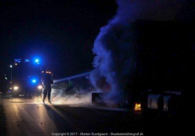 Brand i lastbil på Omfartsvejen ved Holbæk