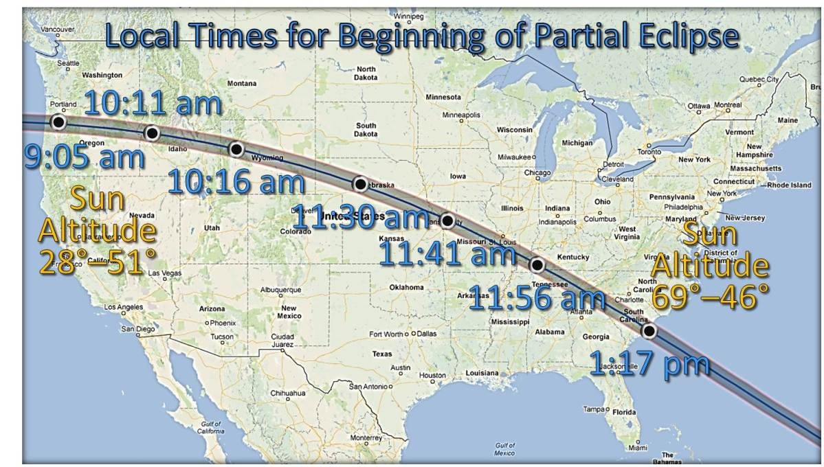 2017-8-1 : Monday August 21st's total solar eclipse traces a narrow path across the USA