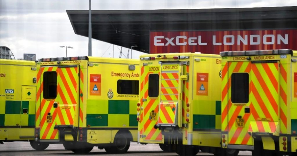 Ambulances parked outside the Excel London centre, that is being prepared to become a temporary National Health Service (NHS) hospital to be called the Nightingale Hospital, in London, Saturday March 28, 2020. The Nightingale Hospital will have two wards, each capable of holding up to 2,000 COVID-19 coronavirus patients when it opens early next week.(AP Photo/Alberto Pezzali)