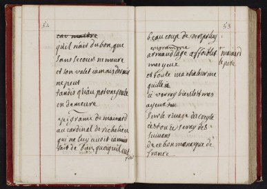 Manuscrit autographe de Madame du Châtelet, Recueil de poètes classiques français, XVIIIe siècle, Ms 2375, p 52-53, Médiathèque du Grand Troyes, Photo P. Jacquinot