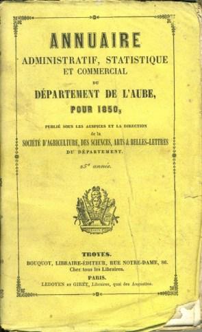 Annuaire administratif, statistique et commercial de l'Aube 1850, photo Société académique de l'Aube
