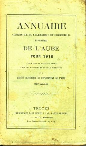 Annuaire administratif, statistique et commercial de l'Aube 1918, photo Société académique de l'Aube