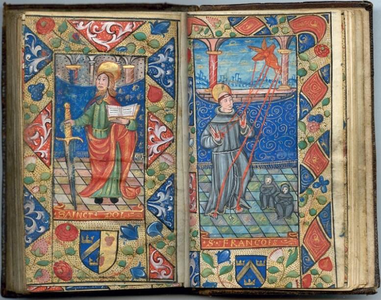 Manuscrit MS 3907, passionnaire et hymnaire du XVIe siècle, comportant 28 miniatures. Ici saint Paul et saint François. Médiathèque du Grand Troyes, photo P. Jacquinot
