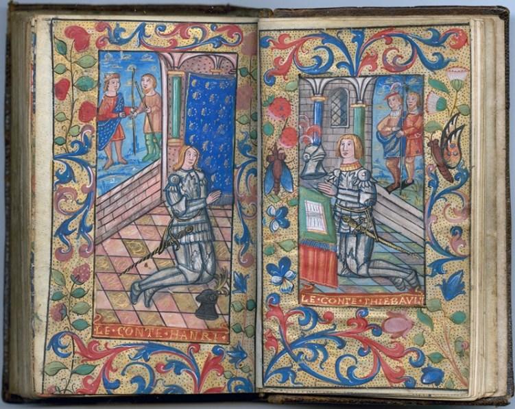 Manuscrit MS 3907, passionnaire et hymnaire du XVIe siècle, comportant 28 miniatures. Ici les comtes de Champagne Henri et Thibault. Médiathèque du Grand Troyes, photo P. Jacquinot