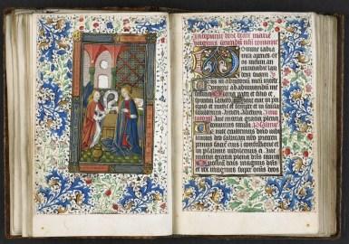 feuillet 27v°-28r° du Livre d'heures : l'Annonciation. Médiathèque du Grand Troyes. Photo: Pascal Jacquinot