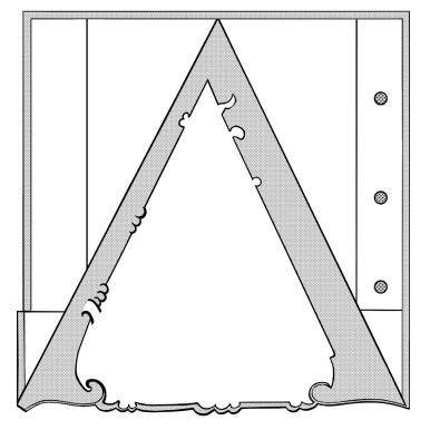 Premier canevas pour la fabrication de la lettre en relief. La lettre est formée de plusieurs couches de motifs superposées. On voit ici la quatrième couche. Image Médiathèque de Troyes Champagne Métropole