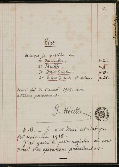 """""""Etat de mes avoirs"""" dressé par Georges Hérelle. Première page. Photo Médiathèque de Troyes Champagne Métropole"""