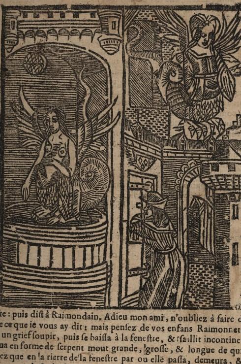 """Mélusine se transforme en serpent et s'envole par une fenêtre. Gravure extraite de """"L'Histoire de Mélusine"""". Photo Médiathèque de Troyes Champagne Métropole"""
