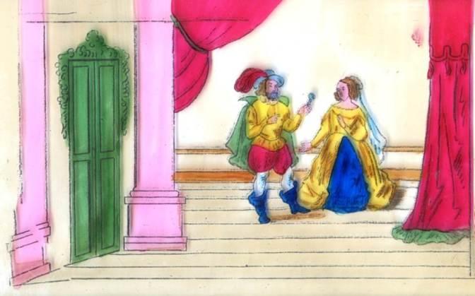 Barbe bleue confie la clé de sa pièce secrète à son épouse. Image de lanterne magique. Photo Marie-Dominique Leclerc