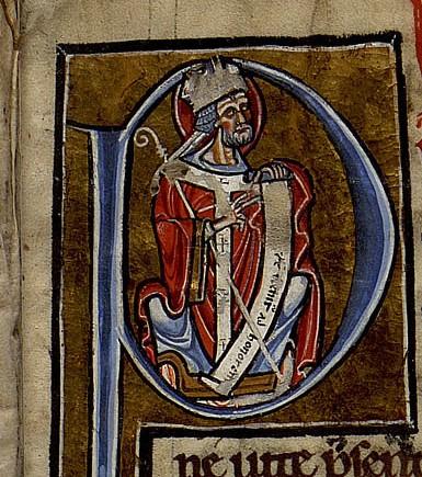 Grégoire est représenté dans un autre manuscrit de la Médiathèque, le Ms 1869. Il est en effet l'auteur d'un commentaire du Cantique des Cantiques qui est copié dans ce manuscrit. Ms 1869, fonds de Clairvaux, 13e siècle. Photo Médiathèque de Troyes Champagne Métropole