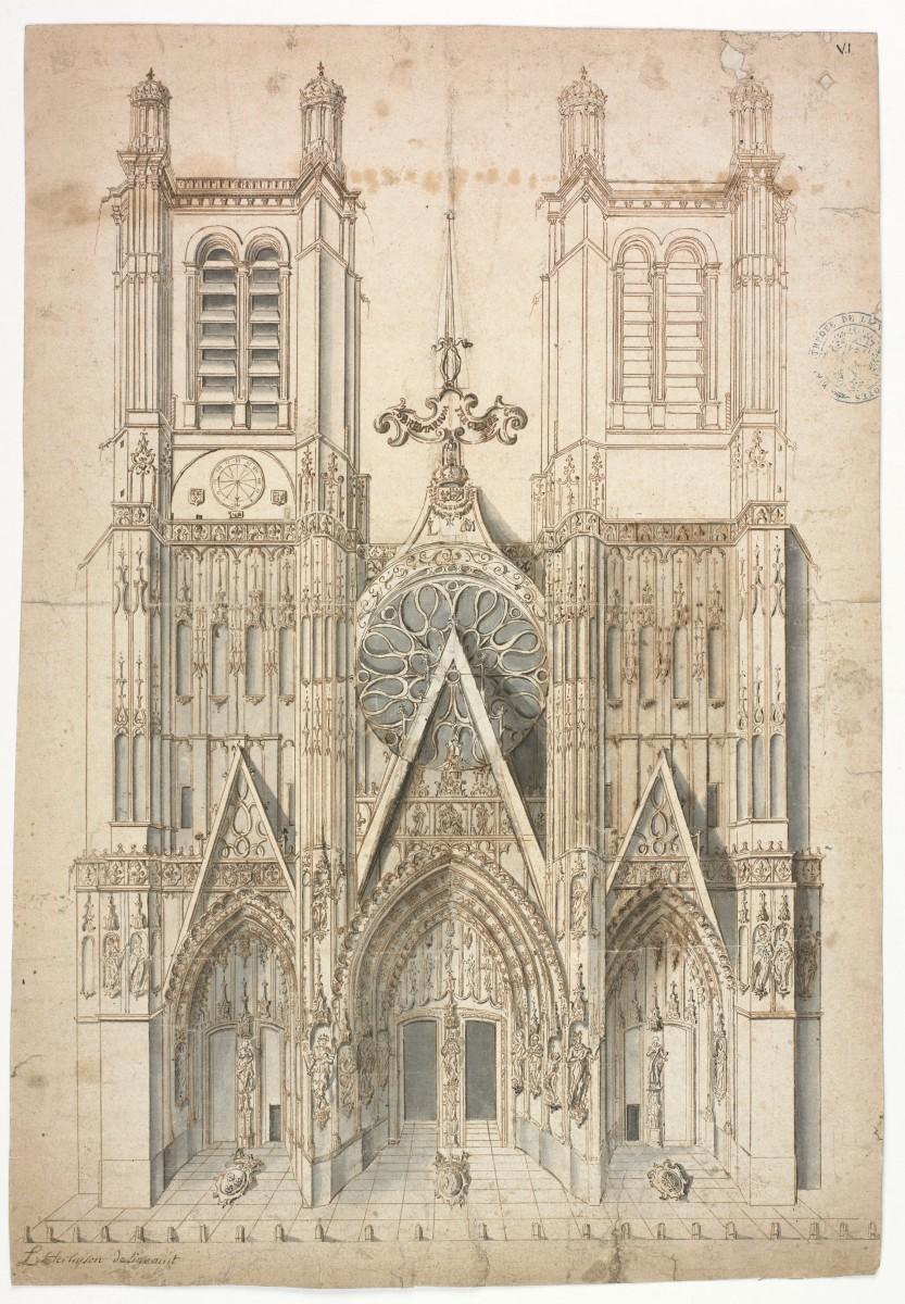 La seconde tour de la cathédrale aurait pu voir le jour, comme nous l'enseigne ce dessin d'un certain Herluyson, dont l'identité reste à définir. Projet d'achèvement de la façade de la cathédrale de Troyes, vers 1830. [Carteron 3]. Photo Médiathèque de Troyes Champagne Métropole