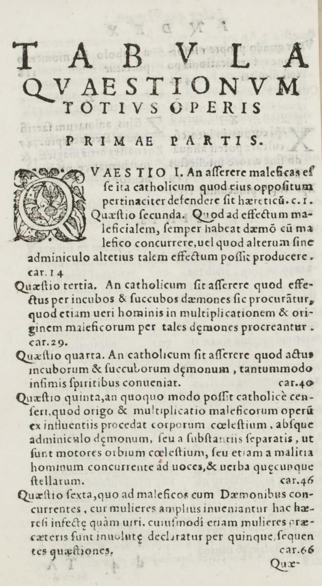"""Liste des questions en latin à poser par l'inquisiteur au suspect de sorcellerie. Chaque question commence par son numéro dans l'ordre de l'interrogatoire : """"Quaestio prima""""[...], """"Quaestio segunda""""[...], """"Quaestio tertia""""[...],... Malleus maleficarum, Venise, 1576. [s.16.2689]. Photo Médiathèque de Troyes Champagne Métropole"""