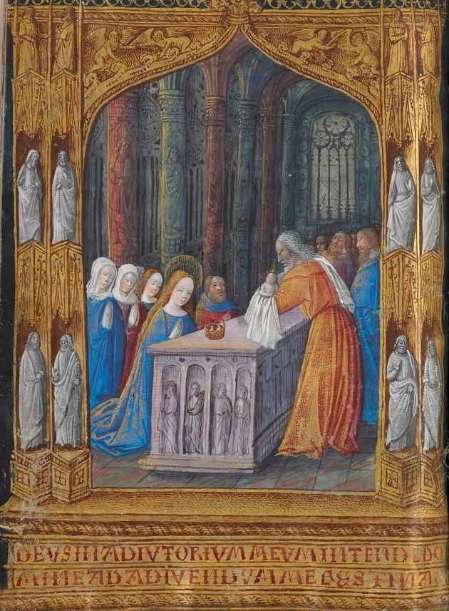 Dans cette peinture du maître Jean Colombe, Marie est clairement au premier plan devant un Joseph relégué au rang de personnage secondaire. [Ms 3901]. Photo Médiathèque de Troyes Champagne Métropole