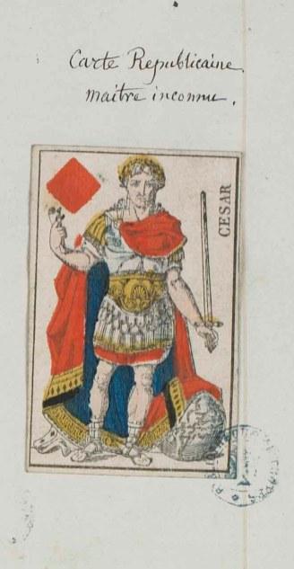 Les cartes peuvent également à certaines époques représenter des personnages historiques. Ici, Jules César. [Ms 2701]. Photo Médiathèque Troyes Champagne Métropole