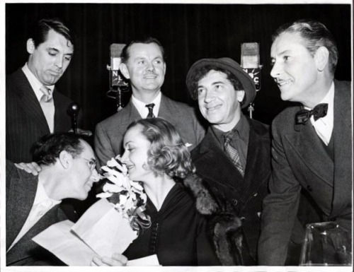 ronaldcolman: Cary Grant, Carole Lombard, and Groucho and Chico Marx with Ronald Colman. The photo was taken in 1939, when Ronnie did a brief stint as a panelest on The Circle, an NBC radio program.