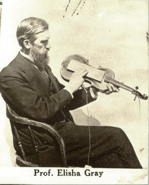 Elisha Gray using a violin as a resonating amplifier for his Musical Telegraph
