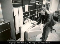 G.M. Koenig in the computer studio with PDP-10 Computer