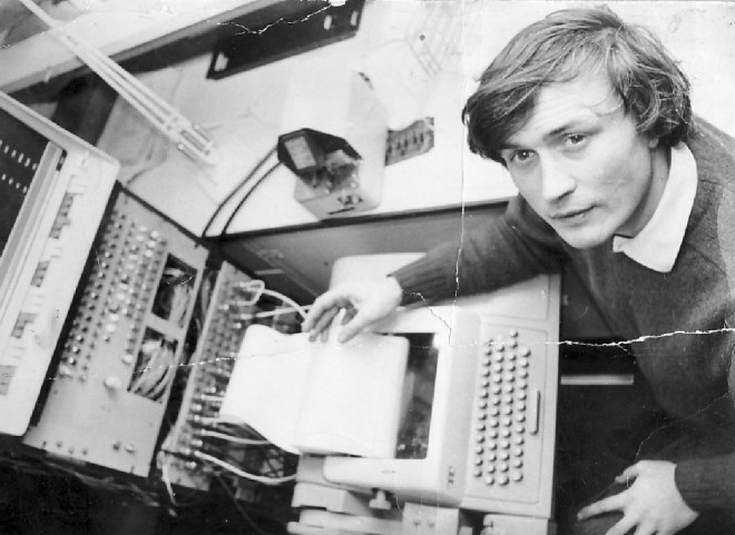 Peter Zinovieff at the controls of the PDP8 Computer, EMS studio London