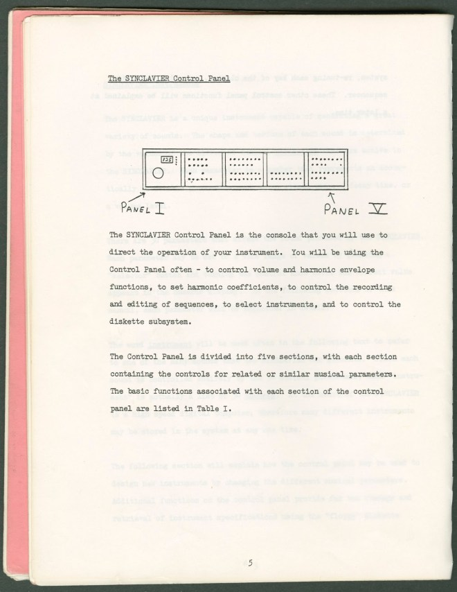 Page from the original Synclavier I manual