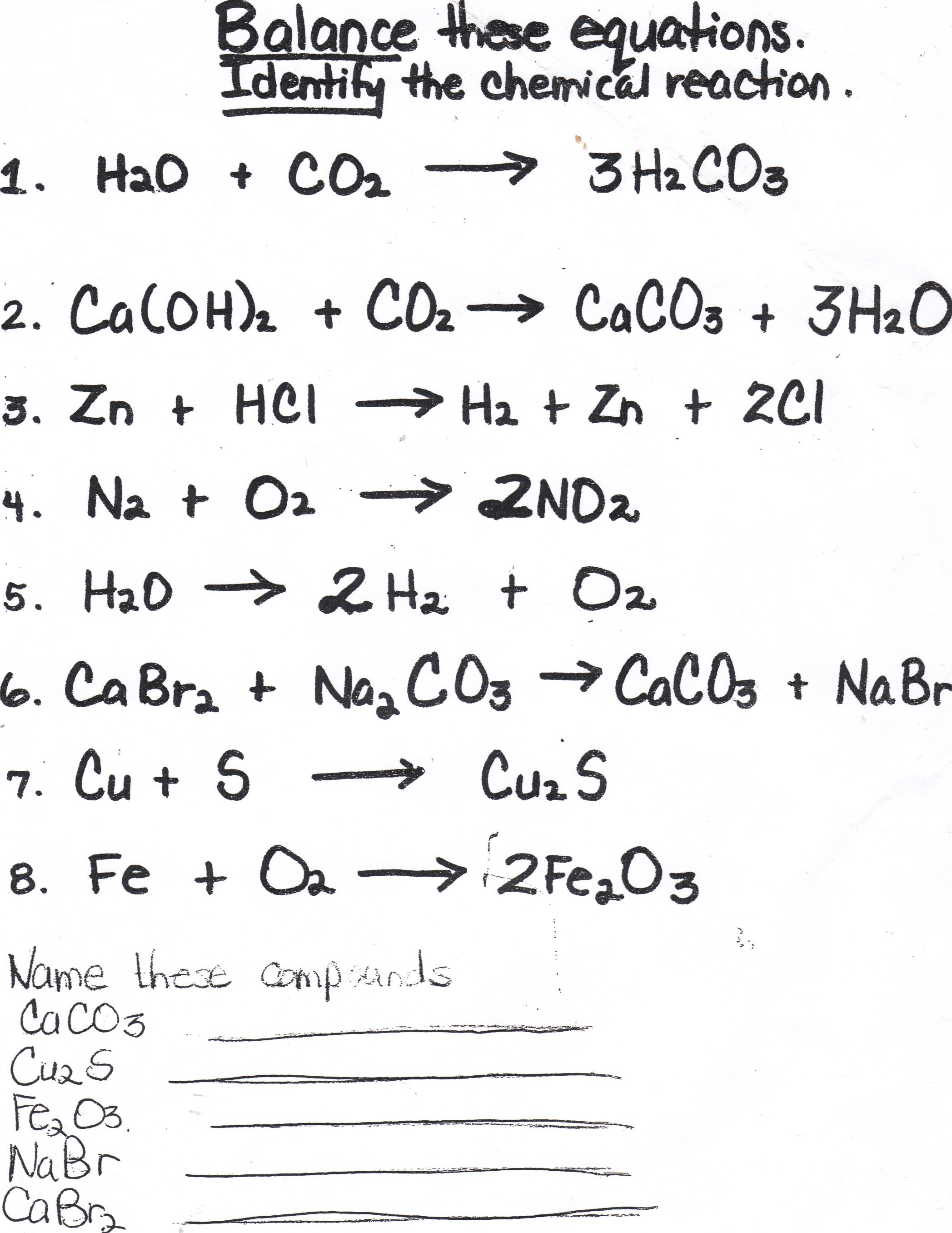 Balancing Chemical Equations Worksheet With Answers H2 O2 H2o