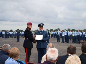FS (ATC) Brian Goodall receiving his Wing Commander's Commendation