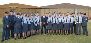 Cadets and staff from Bedfordshire and Cambridgeshire Wing with ITV Anglia presenter Jonathan Wills