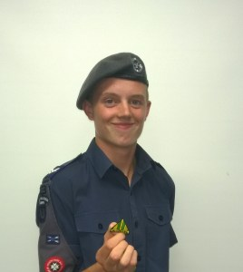 Alfie Jaggard with his Nijmegan badge
