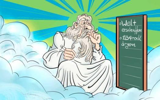 Gott auf Wolke beim denken
