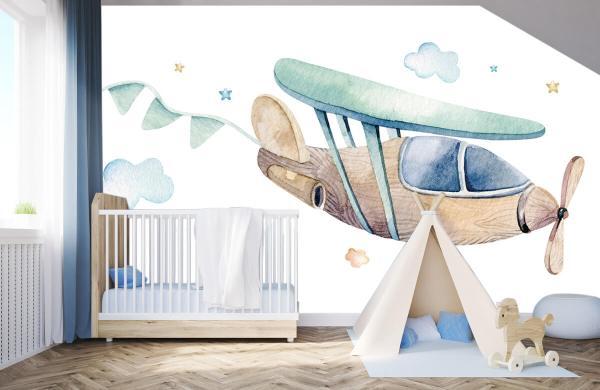 Fotobehang Waterverf vliegtuig