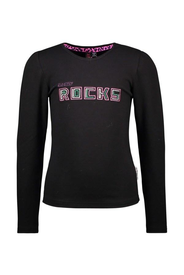 B.Nosy Meisje shirt 'B.Nosy ROCKS' - Zwart