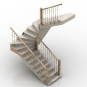 Free 3dmax Model Staircase With Handrails
