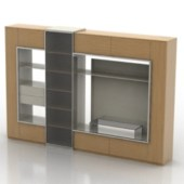 Multimedia Wall Composition Cabinet Free 3dmax Model
