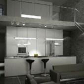 Two Storey Home Kitchen Room Scene 3dmax Model