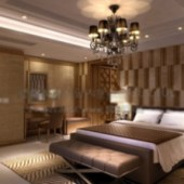 Hotel Rooms Interior Scene Free 3dmax Model